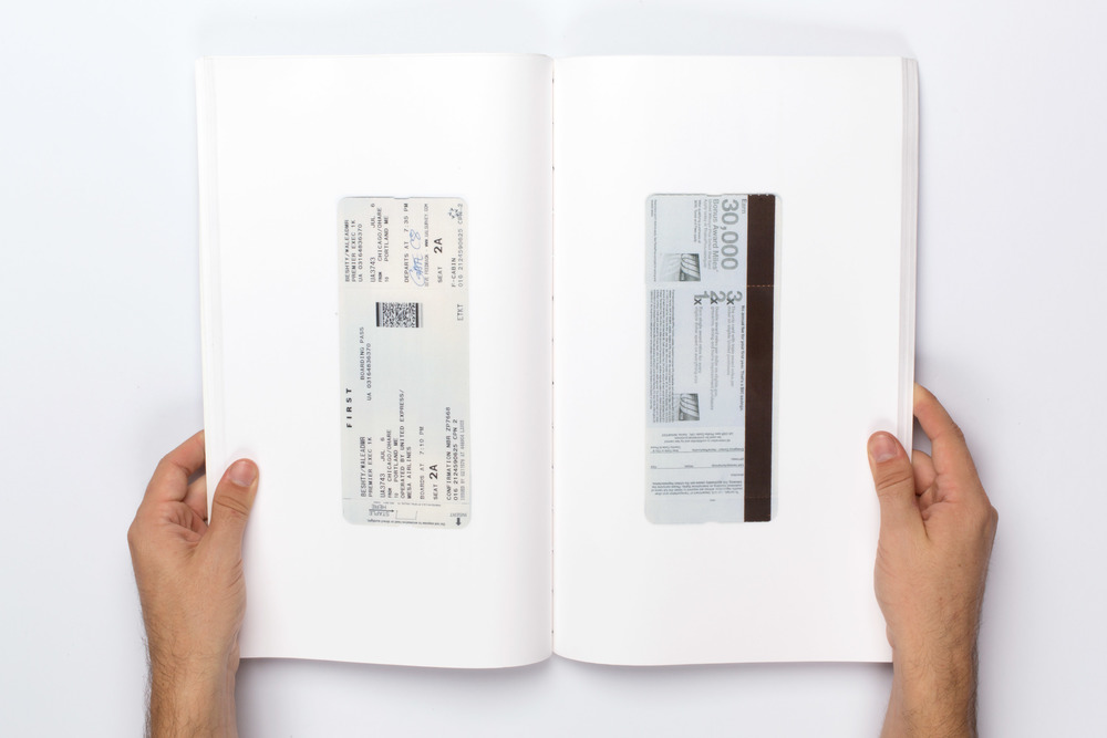 Weastern Archive One   2012–  Bound laserjet prints  14 x 8 1/2 inches     1:1 images of every airline ticket from 2008 to present (ongoing).
