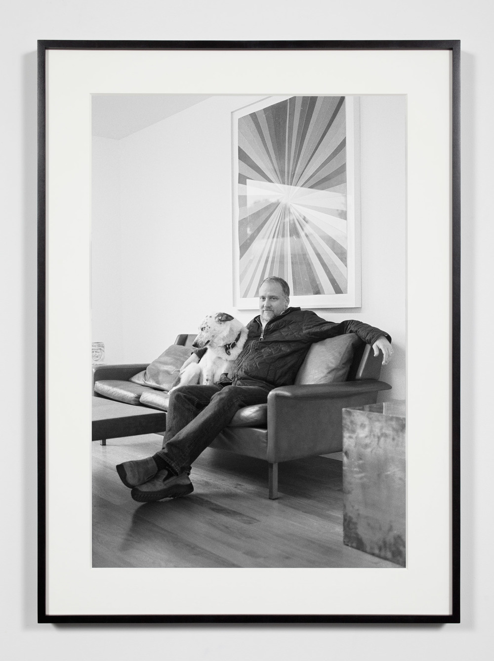 Gallery Owner with Dog, Los Angeles, California, February 5, 2010    2011   Epson Ultrachrome K3 archival ink jet print on Hahnemühle Photo Rag paper  36 3/8 x 26 3/8 inches   Industrial Portraits, 2008–