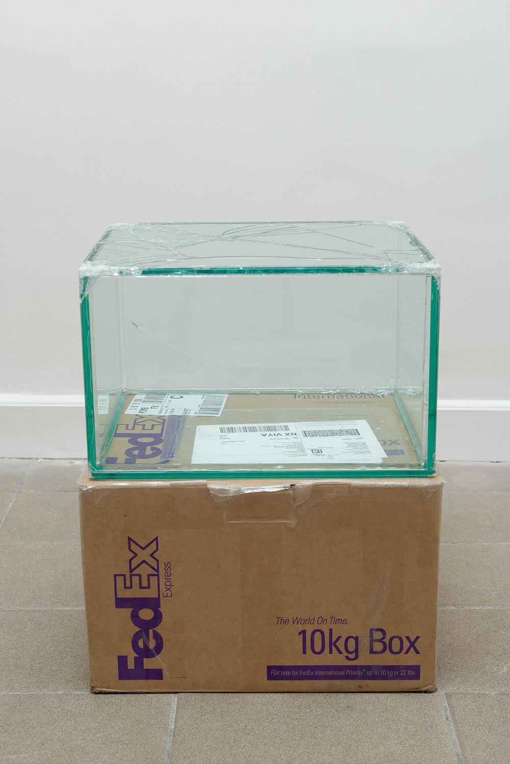 FedEx® 10kg Box  © 2006 FedEx 149801 REV 9/06 MP, International Priority, Los Angeles-Paris trk#796906988159, October 14-16, 2013    2013–   Laminated glass, FedEx shipping box, accrued FedEx shipping and tracking labels, silicone, metal, tape  10 1/2 x 16 1/4 x 13 1/4 inches   8 rue Saint-Bon, 2013