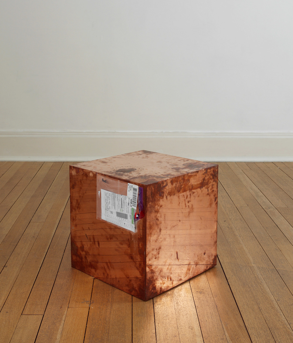 FedEx® Large Kraft Box  © 2005 FEDEX 330508 REV 10/05 SSCC, International Priority, Los Angeles–London trk#868587728061, October 2–5, 2009, International Priority, London–Zurich trk#863822956490, November 26–December 2, 2009    2009–   Polished copper, accrued FedEx shipping and tracking labels  20 x 20 x 20 inches   FedEx Copper Works, 2009–