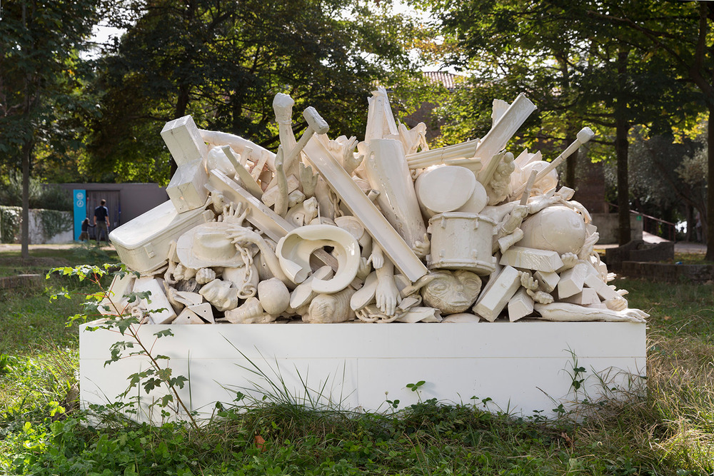La Masa Militarizada (March 2–8, 2015: Cerámica Suro Contemporánea, Guadalajara, Jalisco, Mexico)    2015   Ceramica Suro slip cast remnants, glaze, and firing plates  69 x 99 1/2 x 42 1/4 inches   All the World's Futures, 2015