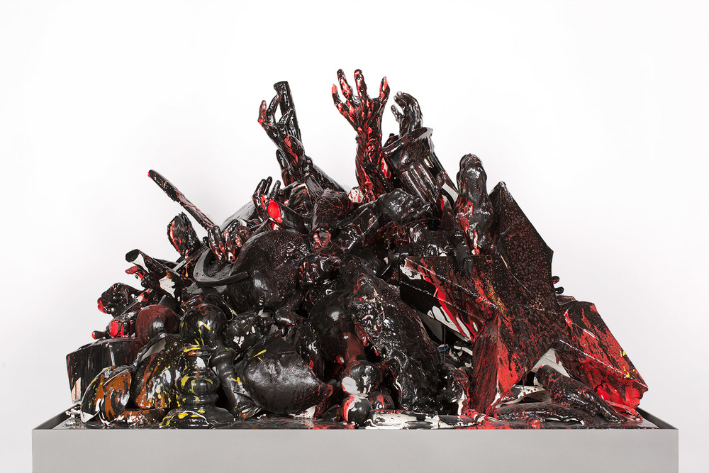 Las Fuerzas Tenebrosas (February 17–March 1, 2015: Cerámica Suro Contemporánea, Guadalajara, Jalisco, Mexico)    2015   Ceramica Suro slip cast remnants, glaze, and firing plates  50 3/4 x 42 x 29 1/2 inches   All the World's Futures, 2015