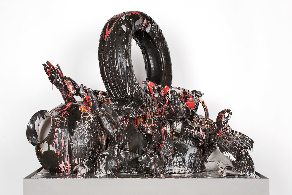 El Circo Contemporáneo (February 17–March 1, 2015: Cerámica Suro Contemporánea, Guadalajara, Jalisco, Mexico)    2015   Ceramica Suro slip cast remnants, glaze, and firing plates  84 x 50 3/4 x 42 inches   All the World's Futures, 2015