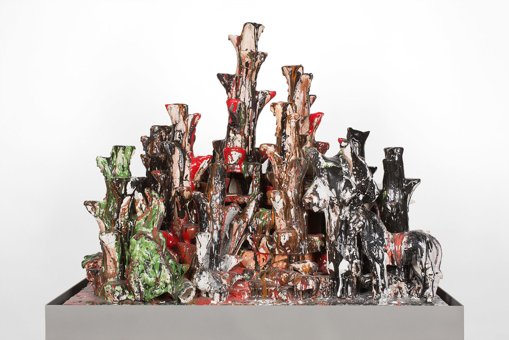 Lo Desconocido (February 17–March 1, 2015: Cerámica Suro Contemporánea, Guadalajara, Jalisco, Mexico)    2015   Ceramica Suro slip cast remnants, glaze, and firing plate  64 x 42 x 26 1/2 inches   All the World's Futures, 2015
