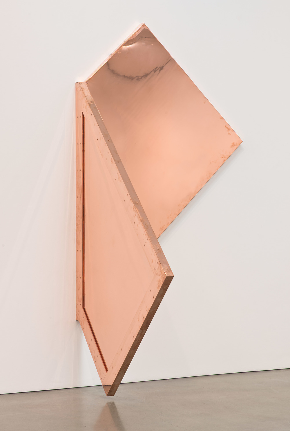 "Copper Surrogate (60"" x 120"" 48 ounce C11000 Copper Alloy, 90º Bend, 77 3/4"" 45º Diagonal / 135º Antidiagonal Bisection: February 20/April 5, 2014, Los Angeles, California)    2014–   Polished copper  110 x 60 x 50 inches   Selected Bodies of Work, 2014"