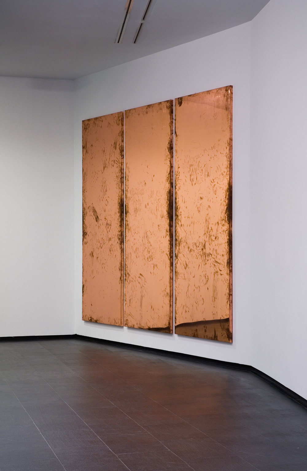 Copper Surrogate (February 10–17/ May 2–6 2011, Malmo, Sweden; June 13–20/ October 31–November 4, 2011, Madrid, Spain; June 8/18, 2012, Basel, Switzerland; October 22, 2015, Beirut, Lebanon)    2011–   Polished copper  116 x 45 3/4 x 2 inches, each, 9 parts   A Diagram of Forces, 2011