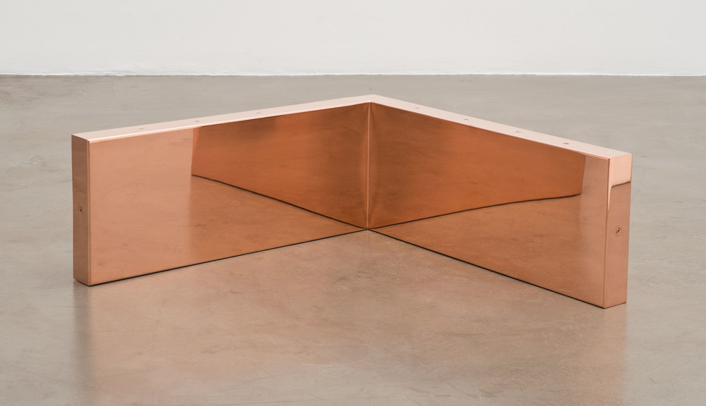 "Copper Surrogate (60"" x 120"" 48 ounce C11000 Copper Alloy, 90º Bend, 120"" Bisection, 10 Sections: November 30–December 1/December 7, 2015, Miami Beach, Florida)    2014–   Polished copper  11 1/2 x 30 x 30 inches"