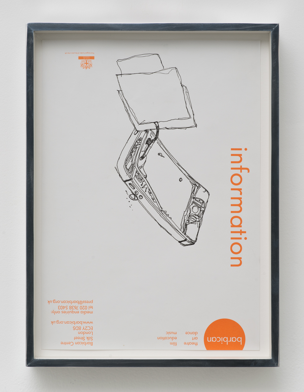 iPhone 5 A1429: Barbican Centre, London, United Kingdom, October 6, 2014    2015   Ink on letterhead  12 7/8 x 9 1/2 inches   Walid AlBeshti, 2015