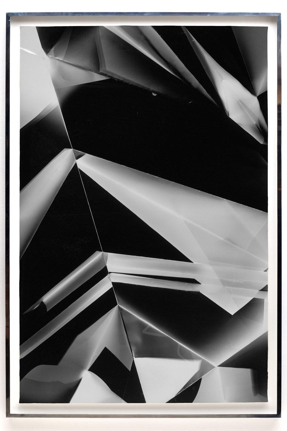Fold (45º/135º/225º/315º directional light sources), June 27, 2008, Annandale-On-Hudson, New York, Foma Multigrade Fiber    2009   Black and white fiber based photographic paper  67 1/2 x 46 3/4 inches   Legibility on Color Backgrounds, 2009