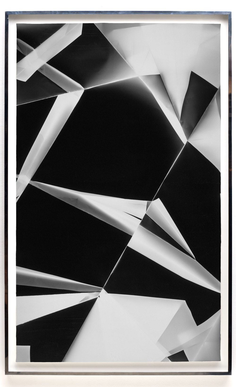 Fold (0º/90º/180º/270º directional light sources), June 13, 2008, Annandale-On-Hudson, New York, Foma Multigrade Fiber    2009   Black and white fiber based photographic paper  74 x 46 3/4 inches   Legibility on Color Backgrounds, 2009