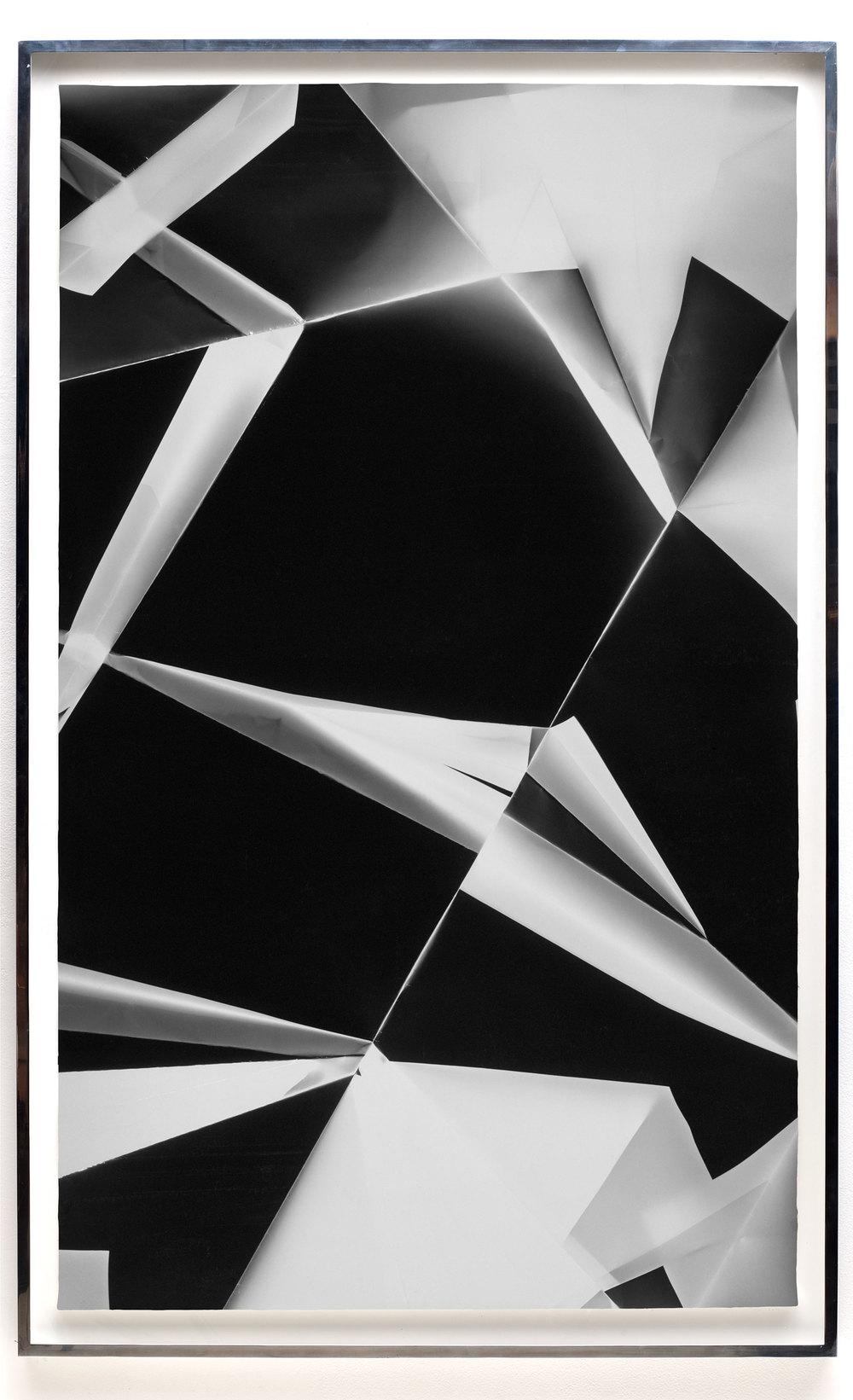 Fold (0º/90º/180º/270º directional light sources), June 13, 2008, Annandale-On-Hudson, New York, Foma Multigrade Fiber    2009   Black and white fiber based photographic paper  74 x 46 3/4 inches   Legibility on Color Backgrounds, 2009