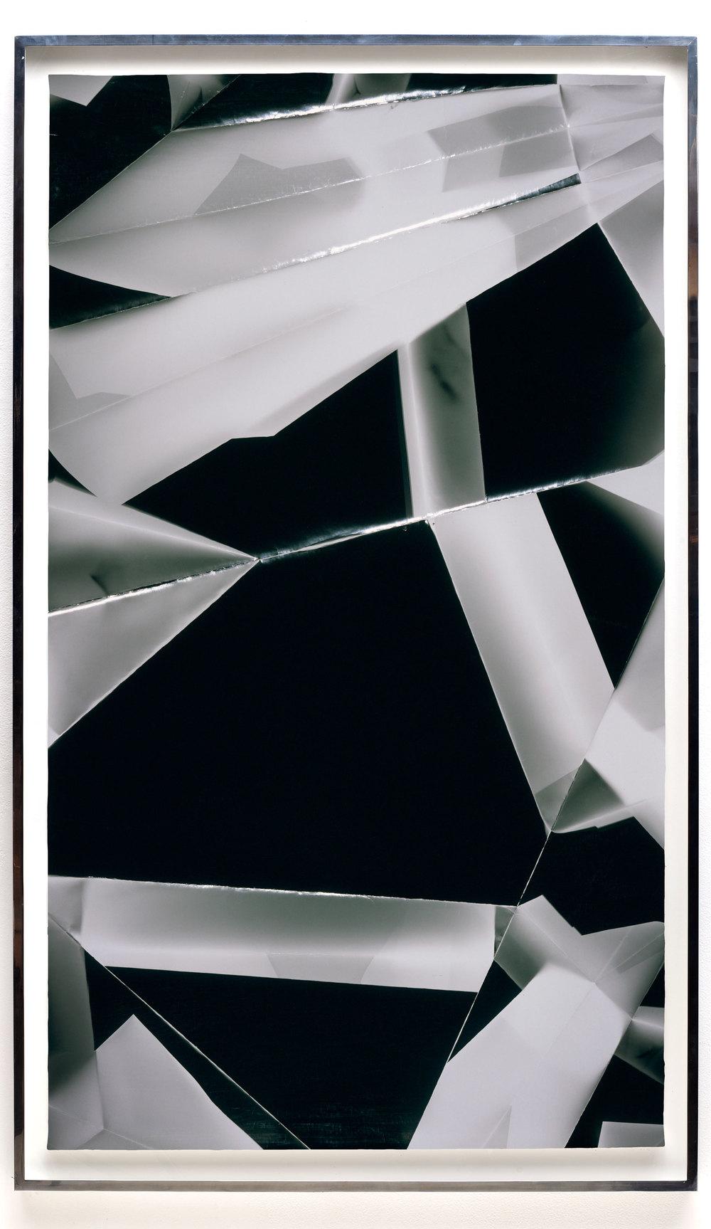 Fold (60º/120º/180º/240º/300º/360º directional light sources), June 30, 2008, Annandale-On-Hudson, New York, Foma Multigrade Fiber    2009   Black and white fiber based photographic paper  80 3/4 x 46 3/4 inches   Legibility on Color Backgrounds, 2009