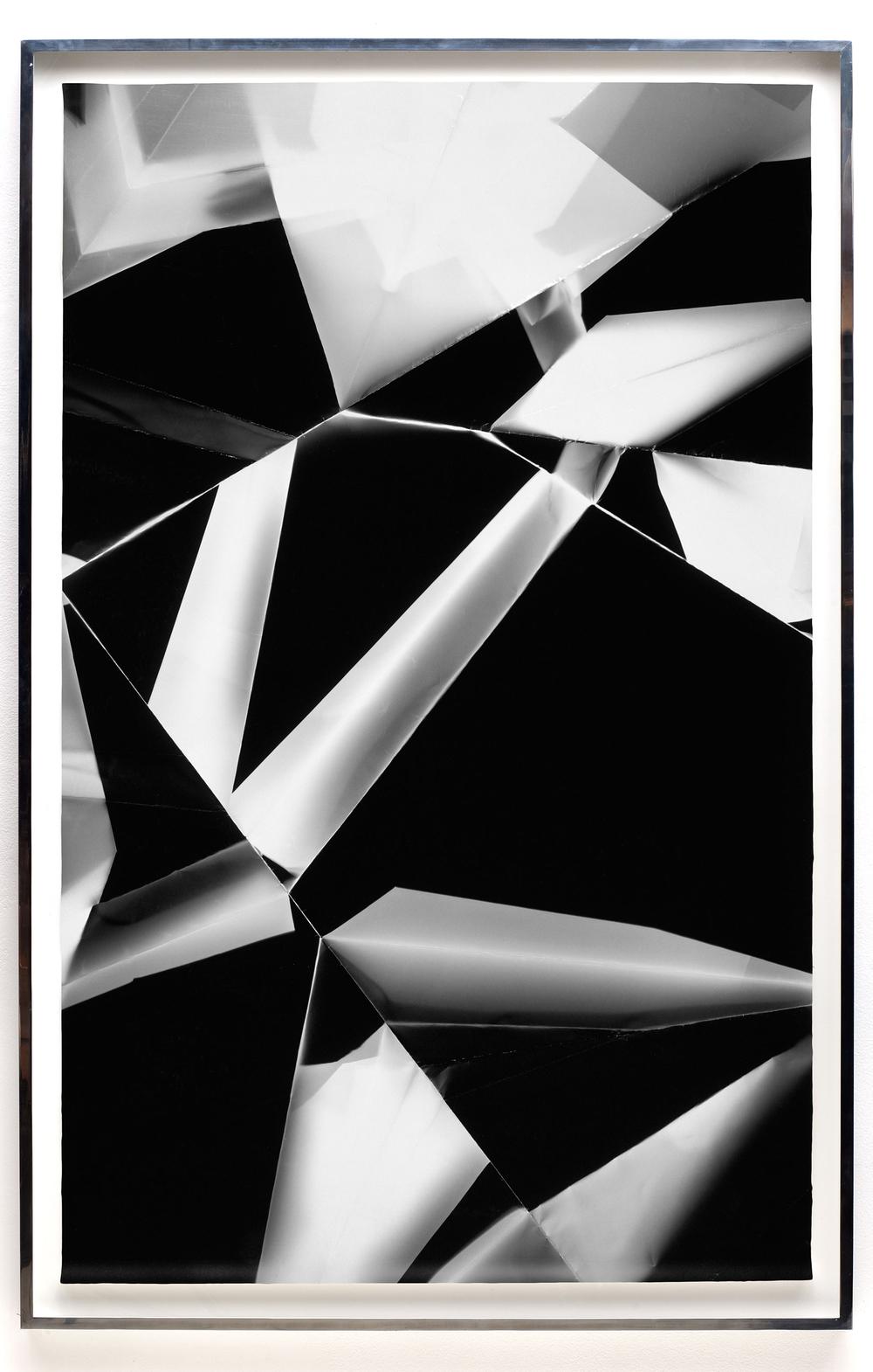 Fold (60º/120º/180º/240º/300º/360º directional light sources), June 5, 2008, Annandale-On-Hudson, New York, Foma Multigrade Fiber    2009   Black and white fiber based photographic paper  72 x 46 3/4 inches   Legibility on Color Backgrounds, 2009