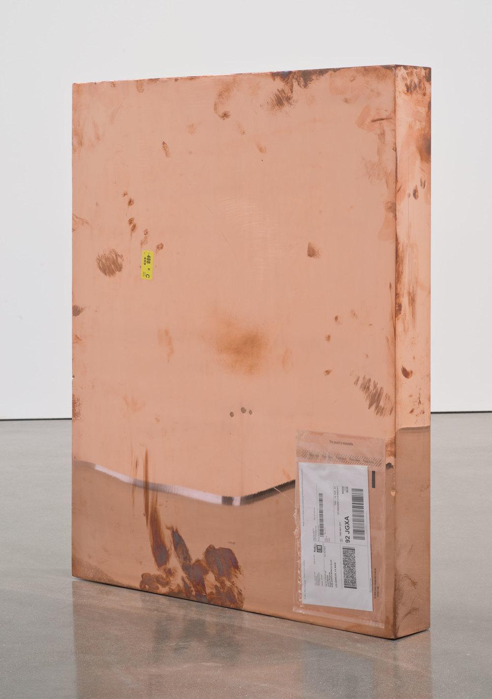 Copper (FedEx® Medium Framed Art Box  © 2011 FedEx 163095 REV 7/11), Standard Overnight, Glendale–Los Angeles trk#798886232371, September 5–6, 2012    2012–   Polished copper, accrued FedEx shipping and tracking labels  33 3/4 x 28 x 4 inches