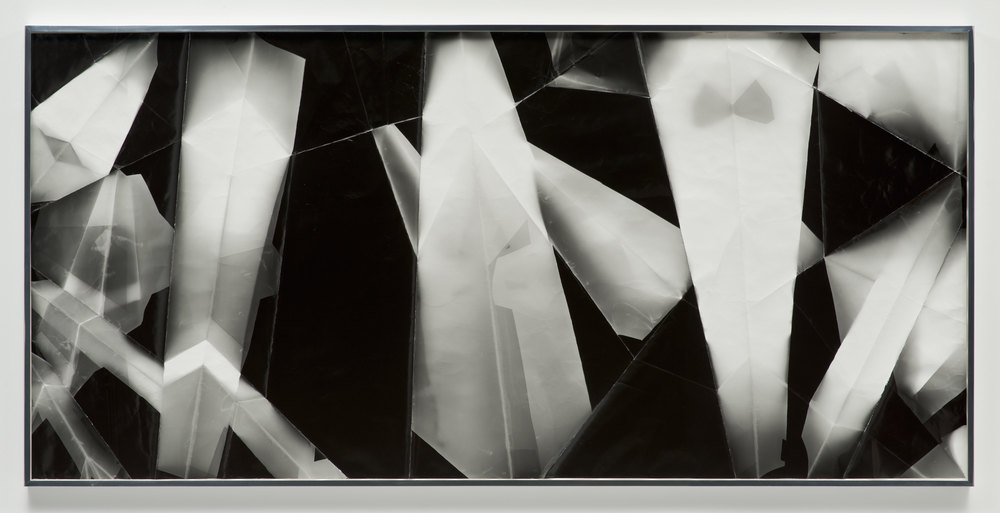 Fold (45º/60º/120º/270º directional light sources), December 31, 2012, Los Angeles, California, Ilford Multigrade IV MGF.1K    2012   Black and white fiber based photographic paper  55 x 118 3/4 inches