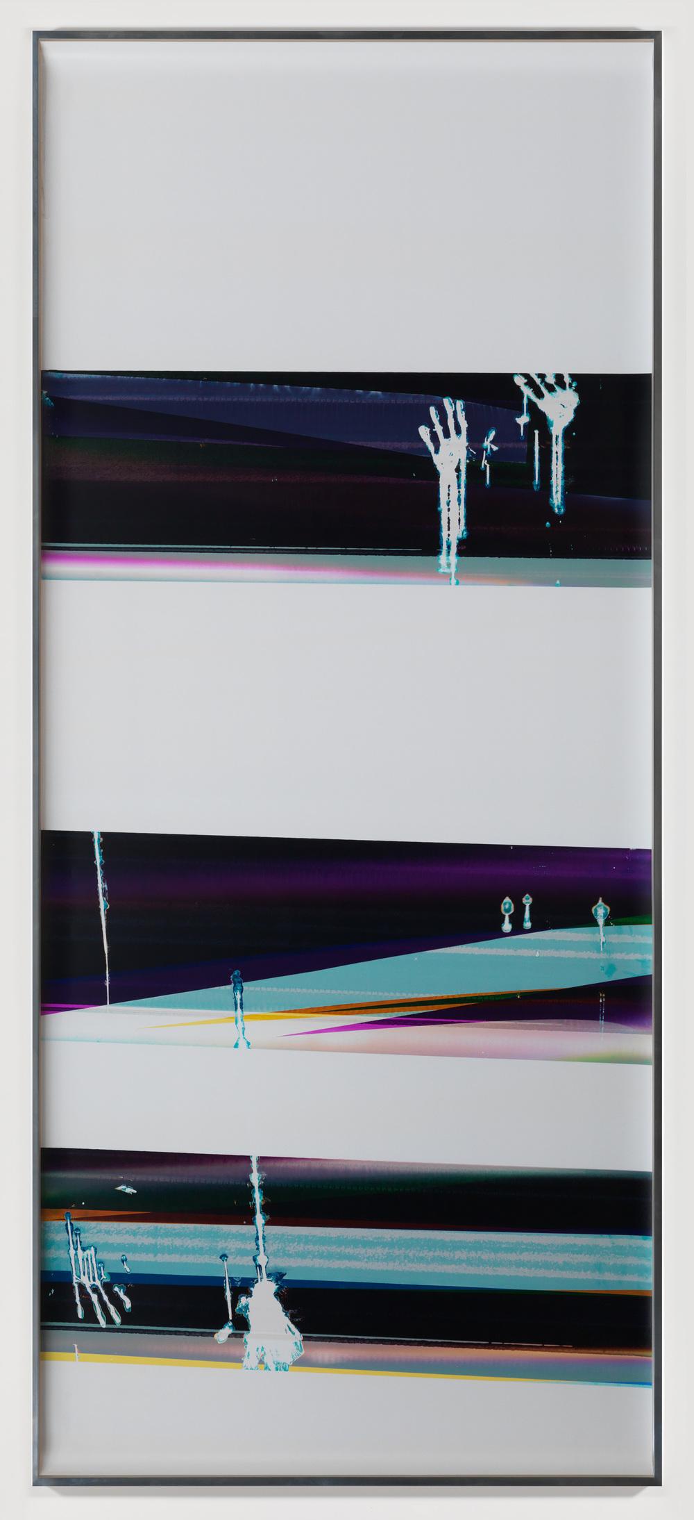 Cross-Contaminated RA4 Contact Print / Processor Stall [Black Curl (9:6/MCY/Six Magnet: Los Angeles, California, April 14, 2014, Fujicolor Crystal Archive Super Type C, Em. No. 107-016, Kodak Ektacolor RA Bleach-Fix and Replenisher, Cat. No. 847 1484, 61214), Kreonite KM IV 5225 RA4 Color Processor, Ser. No. 00092174]    2014   Color photographic paper  124 1/2 x 50 inches   Gastarbeiten, 2014