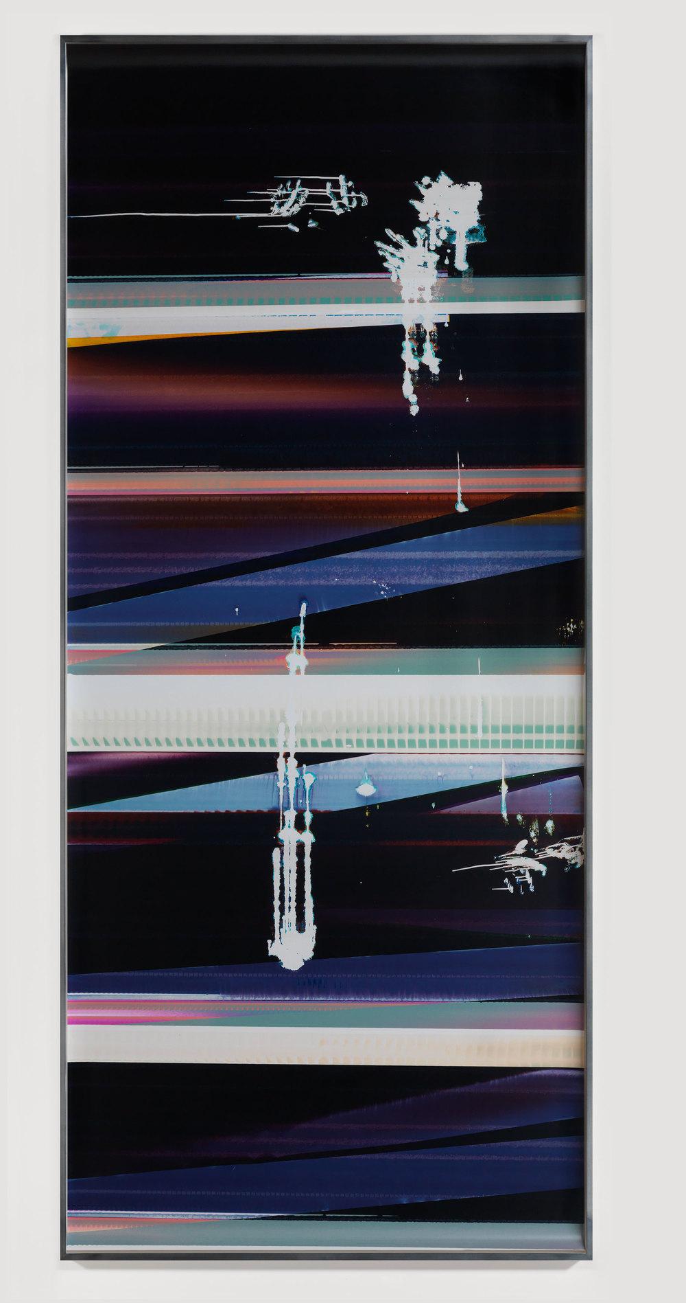 Cross-Contaminated RA4 Contact Print [Black Curl (9:6/MCY/Six Magnet: Los Angeles, California, August 14, 2014, Fujicolor Crystal Archive Super Type C, Em. No. 112-012, Kodak Ektacolor RA Bleach-Fix and Replenisher, Cat. No. 847 1484, 95514), Kreonite KM IV 5225 RA4 Color Processor, Ser. No. 00092174]    2014   Color photographic paper  119 1/2 x 50 inches   Gastarbeiten, 2014