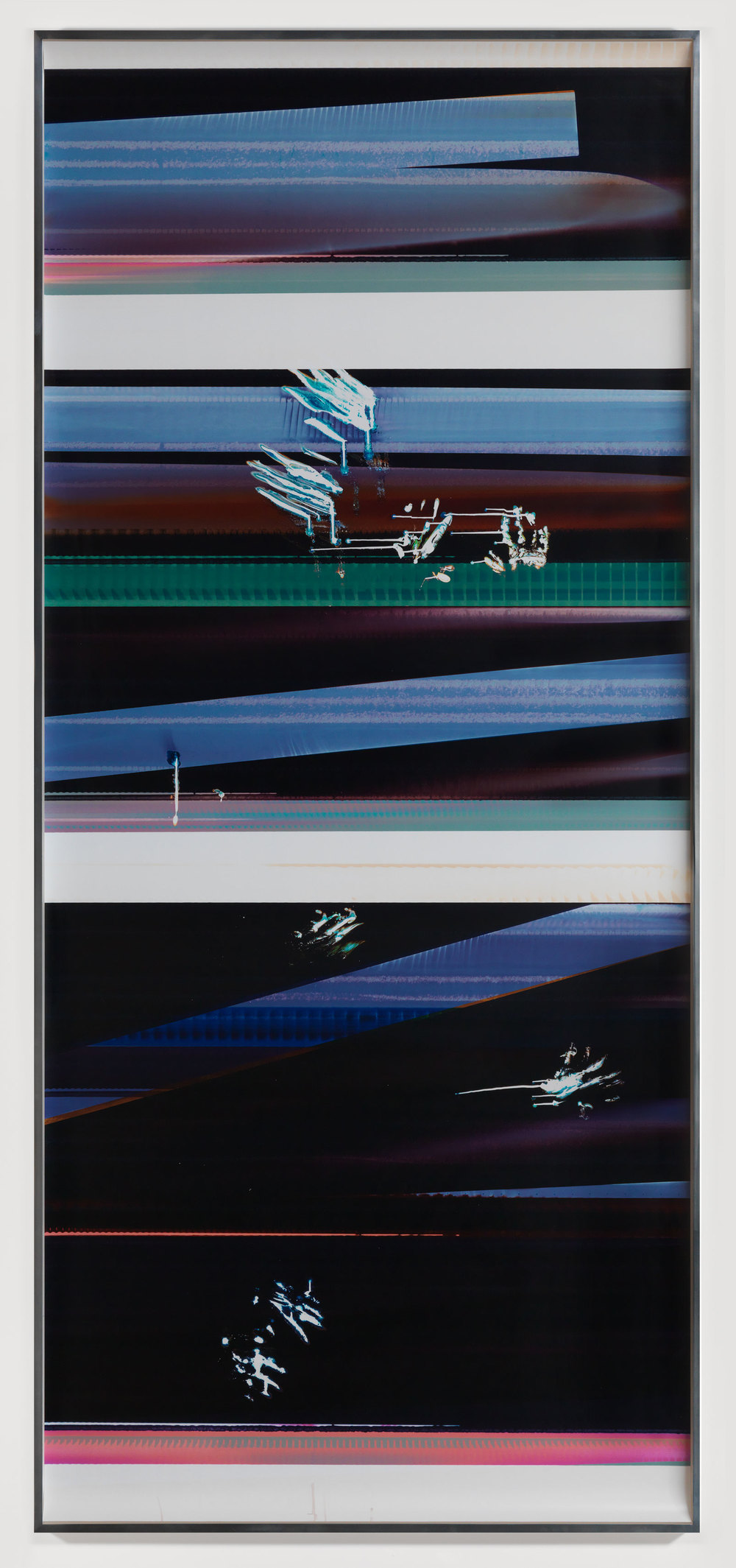 Cross-Contaminated RA4 Contact Print [Black Curl (9:6/YMC/Six Magnet: Los Angeles, California, August 13, 2014, Fujicolor Crystal Archive Super Type C, Em. No. 112-012, Kodak Ektacolor RA Bleach-Fix and Replenisher, Cat. No. 847 1484, 81414), Kreonite KM IV 5225 RA4 Color Processor, Ser. No. 00092174]    2014   Color photographic paper  116 1/4 x 50 inches   Gastarbeiten, 2014