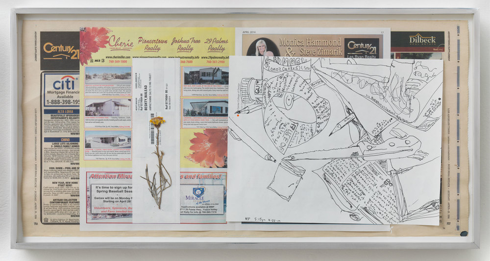 Century 21; Cherie Pioneertown Realty; Joshua Tree Realty; 29 Palms Realty; Dilbeck Real Estate, 83º, 5:15pm, 22-4-14    2014   Ink on paper, receipt, dried flower, newspaper  11 x 22 1/2 inches   Drawings, 2014–