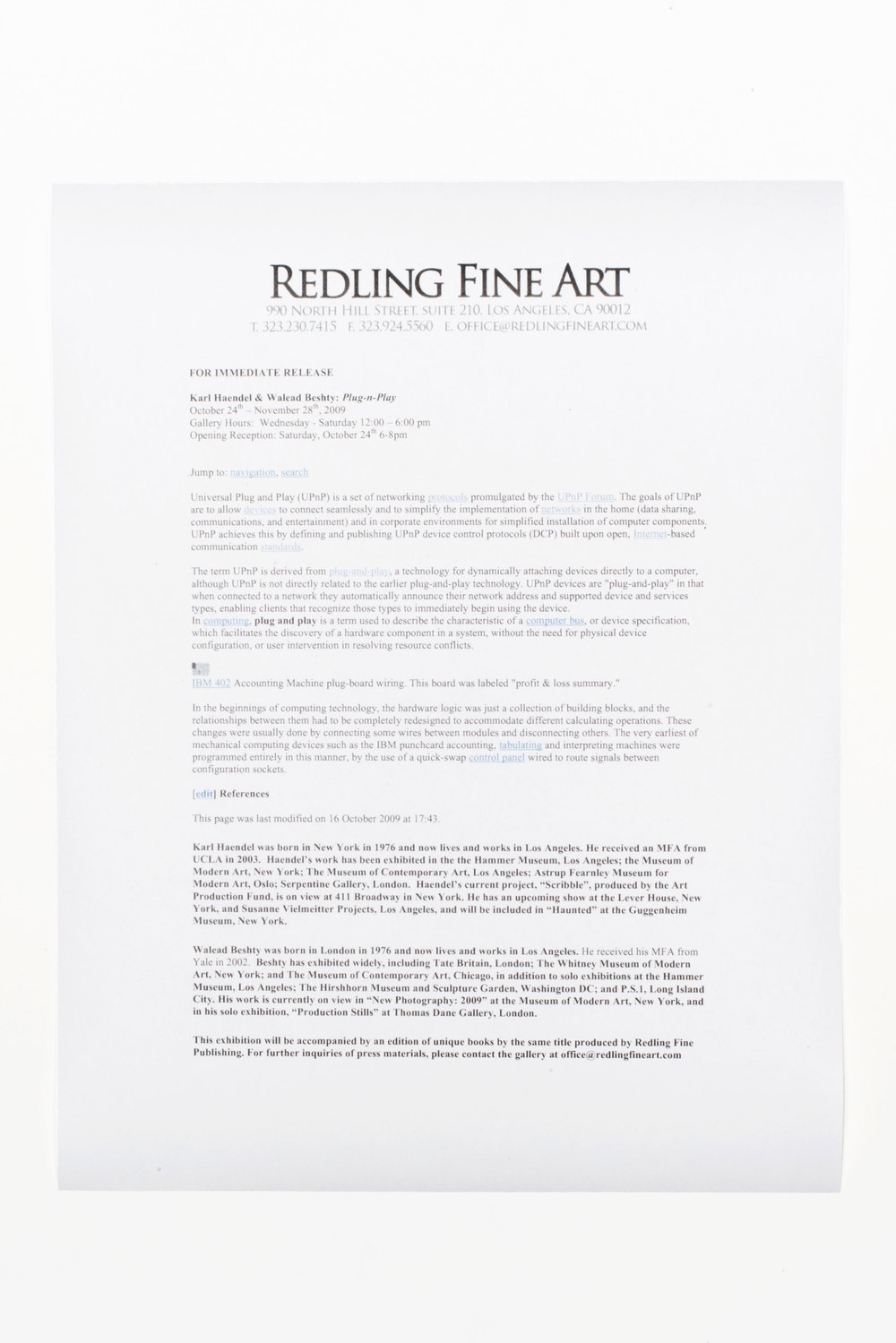 Plug n Play press release   With Karl Haendel  Redling Fine Art  Los Angeles  California  2009