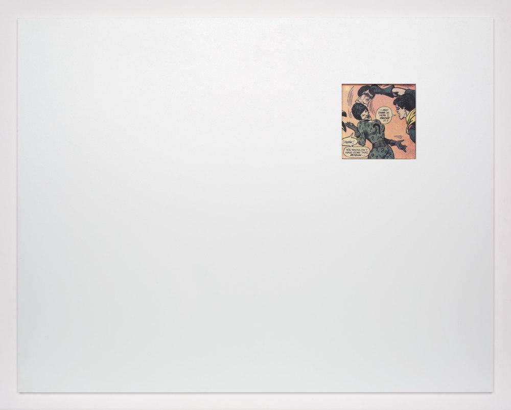 Detail of  Unmaskings (1962–2001: Jimmy Olsen 59; Super Girl and Wonder Woman 63; Jimmy Olsen 79; Detective Comics 335; Bob Hope 93; BlackHawk 210B; Action Comics 349; Jimmy Olsen 111; Green Lantern 69; Action Comics 379; Detective Comics 407; Adventure Comics 428; Adventure Comics 429; Black Magic 1A; Black Magic 1B; House of Mystery 237; Teen Titans Annual; Batman Family Giant 9; Iron Man 103; Batman 321; Brave and the Bold 176; Detective Comics 507A; Detective Comics 507B; Hawkeye 1; AlphaFlight 12B; Batman 318; Captain America 311; Captain America 320; Boris the Bear 11; Excalibur 1; Excalibur 2; Batman 458; The Mask 1; Human Target 1; Captain Planet 8; Batman 484; Blood and Shadows; DareDevil 358; Gen13 53; DareDevil 241; Betty and Veronica 117)    2012   Color offset periodicals, Cintra, Plexiglas, mat board  14 1/4 x 18 inches each, 44 parts   Atopolis, 2015