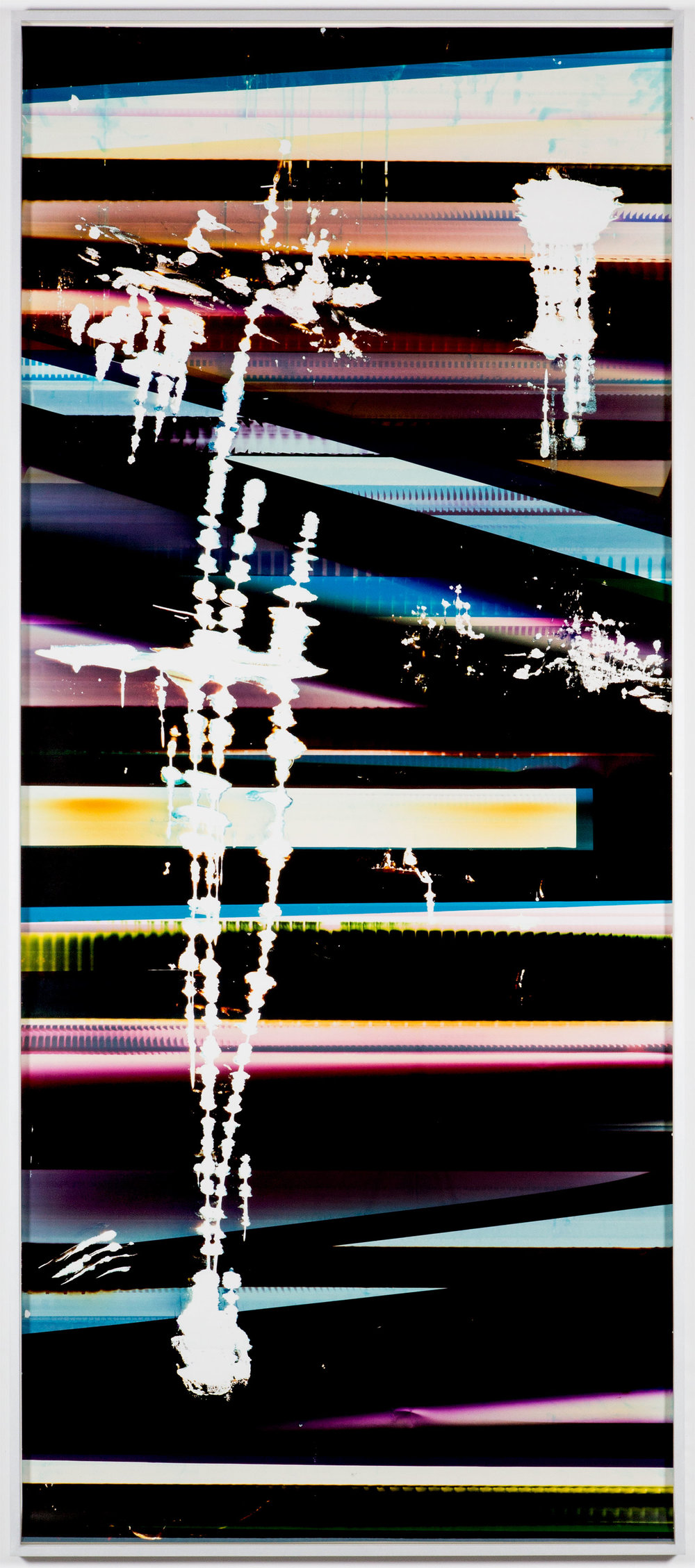 Cross-Contaminated RA4 Contact Print (9:6/CYM/Six Magnet: Los Angeles, California, January 27, 2014, Fuji Color Crystal Archive Super Type C, Em. No. 101-006, Kodak Ektacolor RA Bleach-Fix and Replenisher, Cat. No. 847 1484, 06214), Kreonite KM IV 5225 RA4 Color Processor, Ser. No. 00092174    2016   Color photographic paper  119 3/4 x51 1/2 inches   RA4 Contact Prints, 2014–