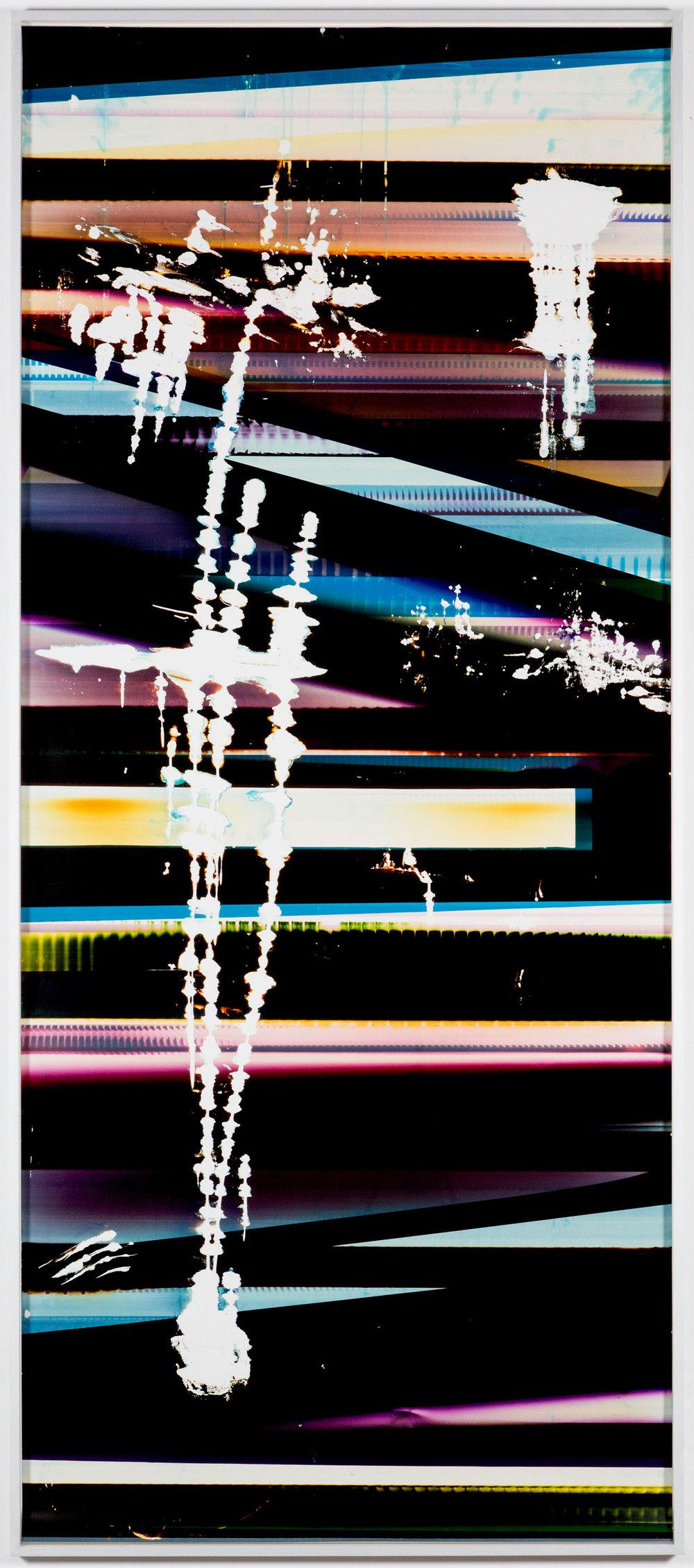 Cross-Contaminated RA4 Contact Print [Black Curl (9:6/CYM/Six Magnet: Los Angeles, California, January 27, 2014, Fuji Color Crystal Archive Super Type C, Em. No. 101-006, Kodak Ektacolor RA Bleach-Fix and Replenisher, Cat. No. 847 1484, 06214), Kreonite KM IV 5225 RA4 Color Processor, Ser. No. 00092174]    2016   Color photographic paper  119 3/4 x 51 1/2 inches   Automat, 2016