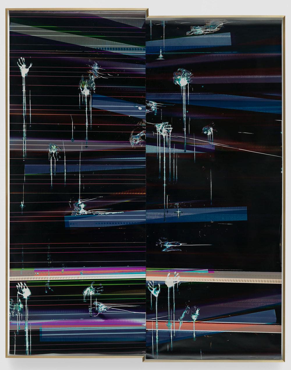 Cross-Contaminated RA4 Contact Print / Processor Stall [Black Curl (MYC/Six Magnet/Six Magnet: Los Angeles, California, March 17, 2016,Fujicolor Crystal Archive Super Type C, Em. No. 112-006, Kodak Ektacolor RA Bleach-Fix and Replenisher, 04716), Kreonite KM IV 5225 RA4 Color Processor, Ser. No. 00092174]    2016   Color photographic paper  125 1/4 x 100 inches   Automat, 2016      Progressive Praxis, 2016