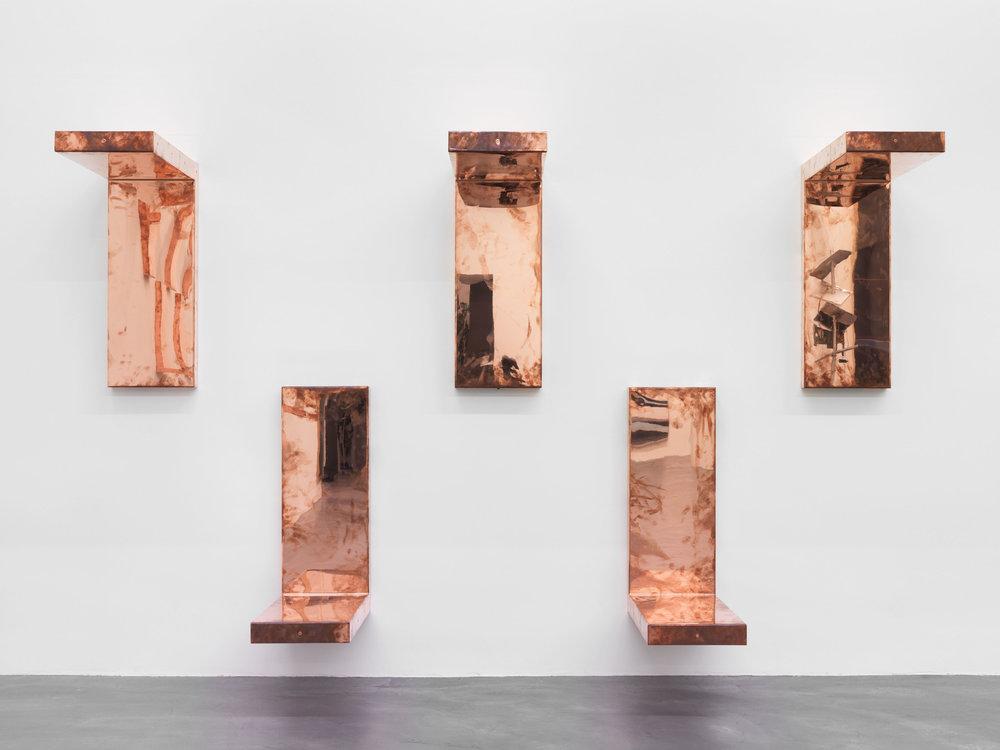 """Detail of  Copper Surrogates (60"""" x 120"""" 48 ounce C11000 Copper Alloy, 90º Bend, 120""""Bisection: June 1–8/August 30, 2016, Zürich, Switzerland)   2016–  Polished copper  30 x 11 1/2 x 30 inches, each   Surrogates (Modular, Art Handling), 2014–    Automat, 2016"""