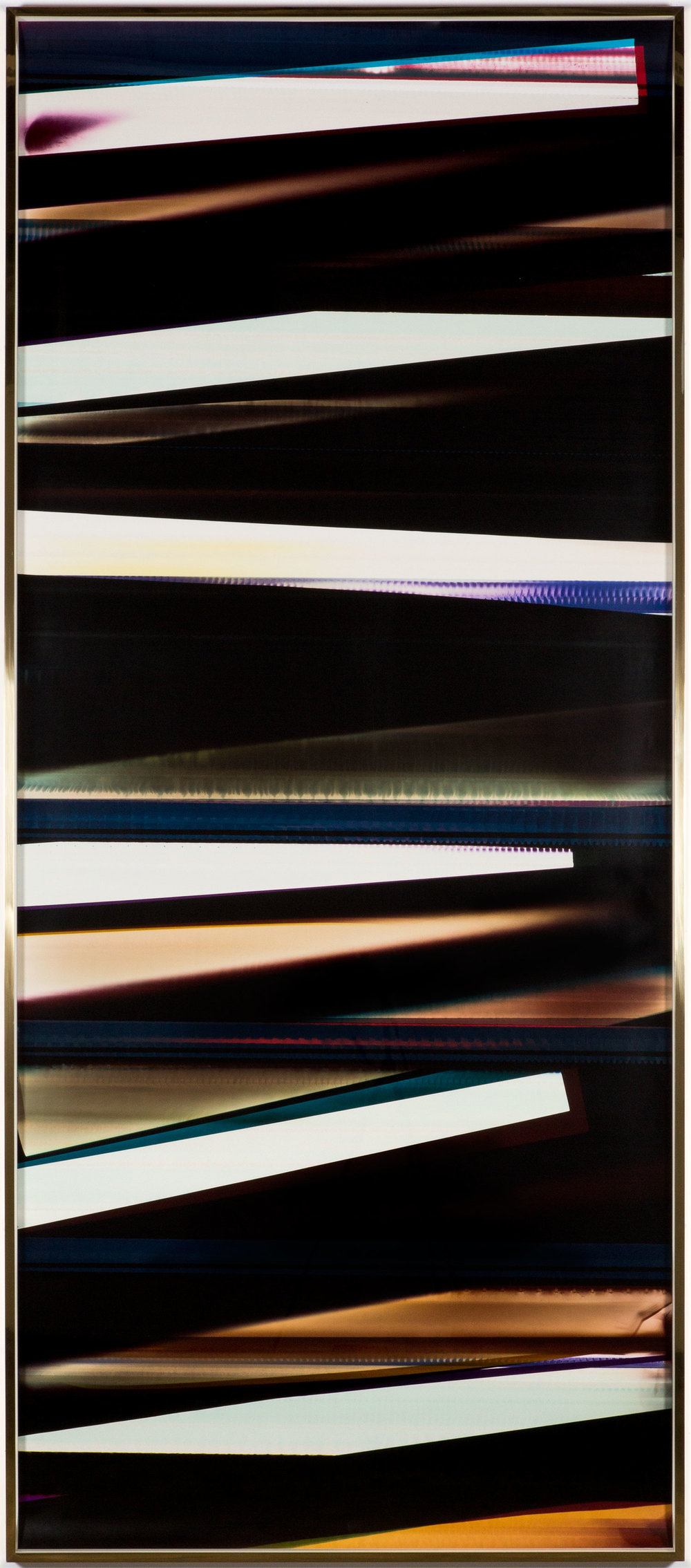 RA4 Contact Print / Processor Stall [Black Curl (9:6/MYC/Six Magnet: Los Angeles, California, July 15, 2014, Fuji Color Crystal Archive Super Type C, Em. No. 107-116, 75414), Kreonite KM IV 5225 RA4 Color Processor, Ser. No. 00092174]   2016  Color photographic paper  119 3/4 x 51 1/2 inches   RA4 Contact Print Curls, 2014–    Automat, 2016