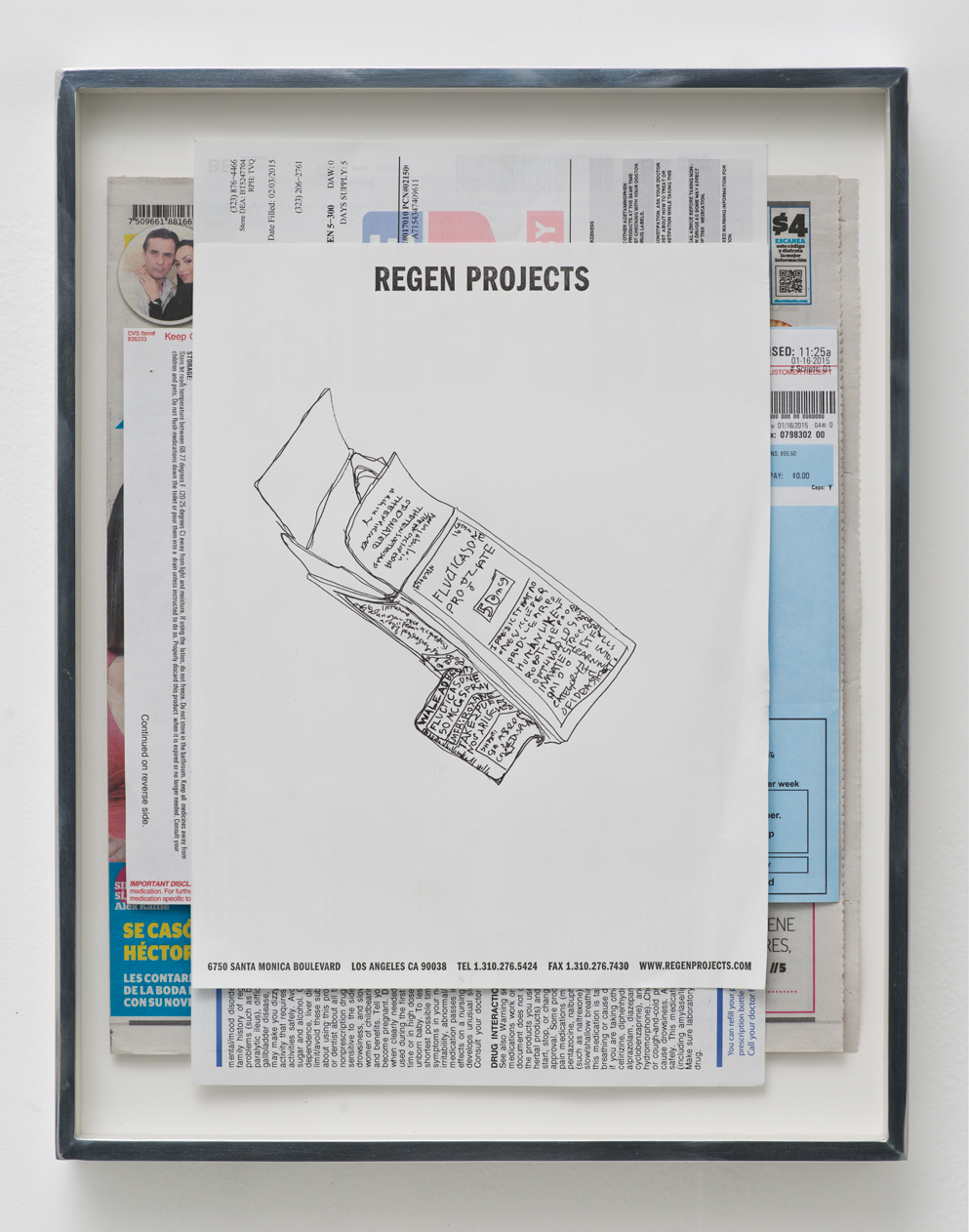 Fluticasone Propionate, 50 mcg, Spray, Boehringer Ingelheim, Roxane Laboratories, Inc.: Regen Projects, Los Angeles, California, Febraury 7, 2015   2015  Ink on letterhead, newspaper, ink on paper  15 x 11 1/2 inches   Drawings, 2014–    Walid AlBeshti, 2015