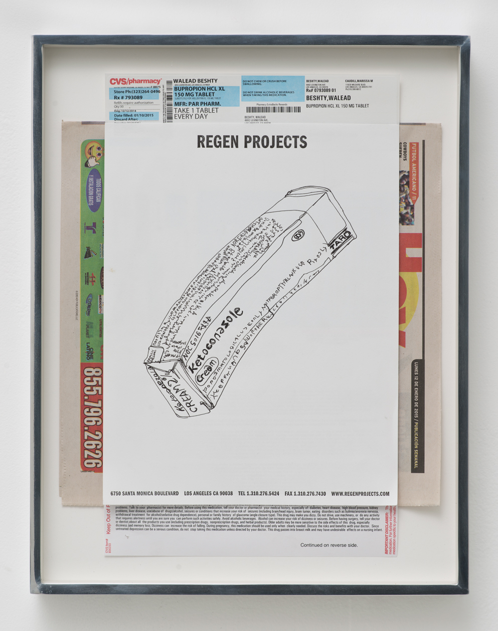 Ketoconazole 2%, 60 g, Cream, Taro Pharmaceutical Industries, Ltd.: Regen Projects, Los Angeles, California, January 12, 2015   2015  Ink on letterhead, newspaper, ink on paper  15 x 11 1/2 inches   Drawings, 2014–    Walid AlBeshti, 2015