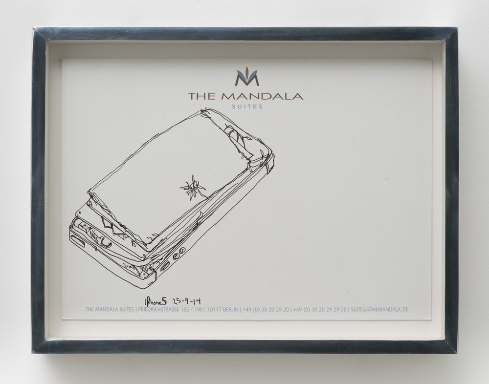 iPhone 5 A1429: The Mandala Hotel, Berlin, Germany, September 25, 2014   2015  Ink on letterhead  7 1/4 x 9 1/2 inches   Drawings, 2014–    Walid AlBeshti, 2015    Atopolis, 2015
