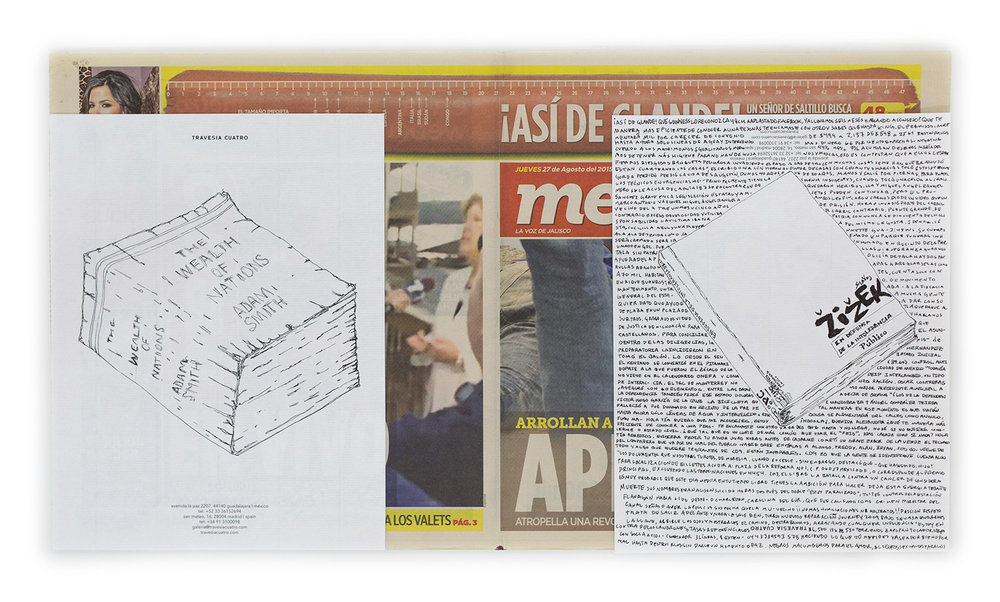 Political Drawing (Metro: Guadalajara, Mexico, Jueves 27 Agosto 2015)   2015  Ink on paper, daily newspaper  12 1/2 x 22 3/4 inches   Drawings, 2014–    Disponibles, 2015