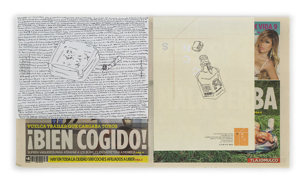 Political Drawing (Metro: Guadalajara, Mexico, Martes 18 Agosto 2015)   2015  Ink on paper, daily newspaper  12 1/2 x 22 3/4 inches   Drawings, 2014–    Disponibles, 2015