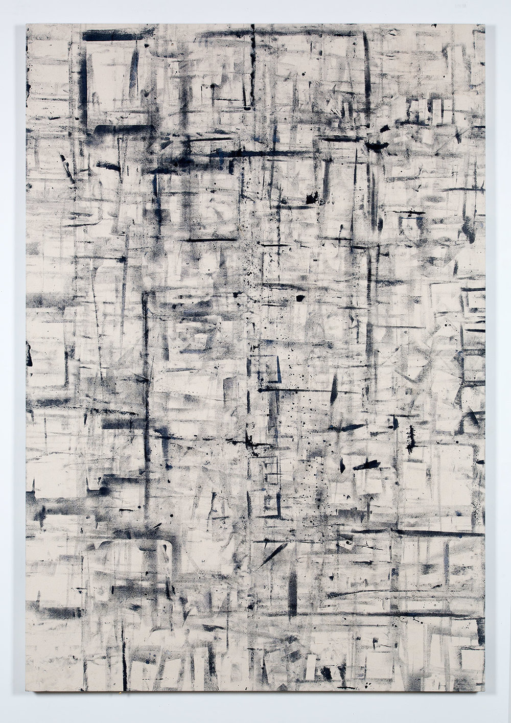 Marginalis (Los Angeles, California, February 1–April 30, 2014)   2014  Cyanotype chemistry on canvas  80 x 55 inches   Cyanotype Paintings, 2013–2015    Marginalia, 2014