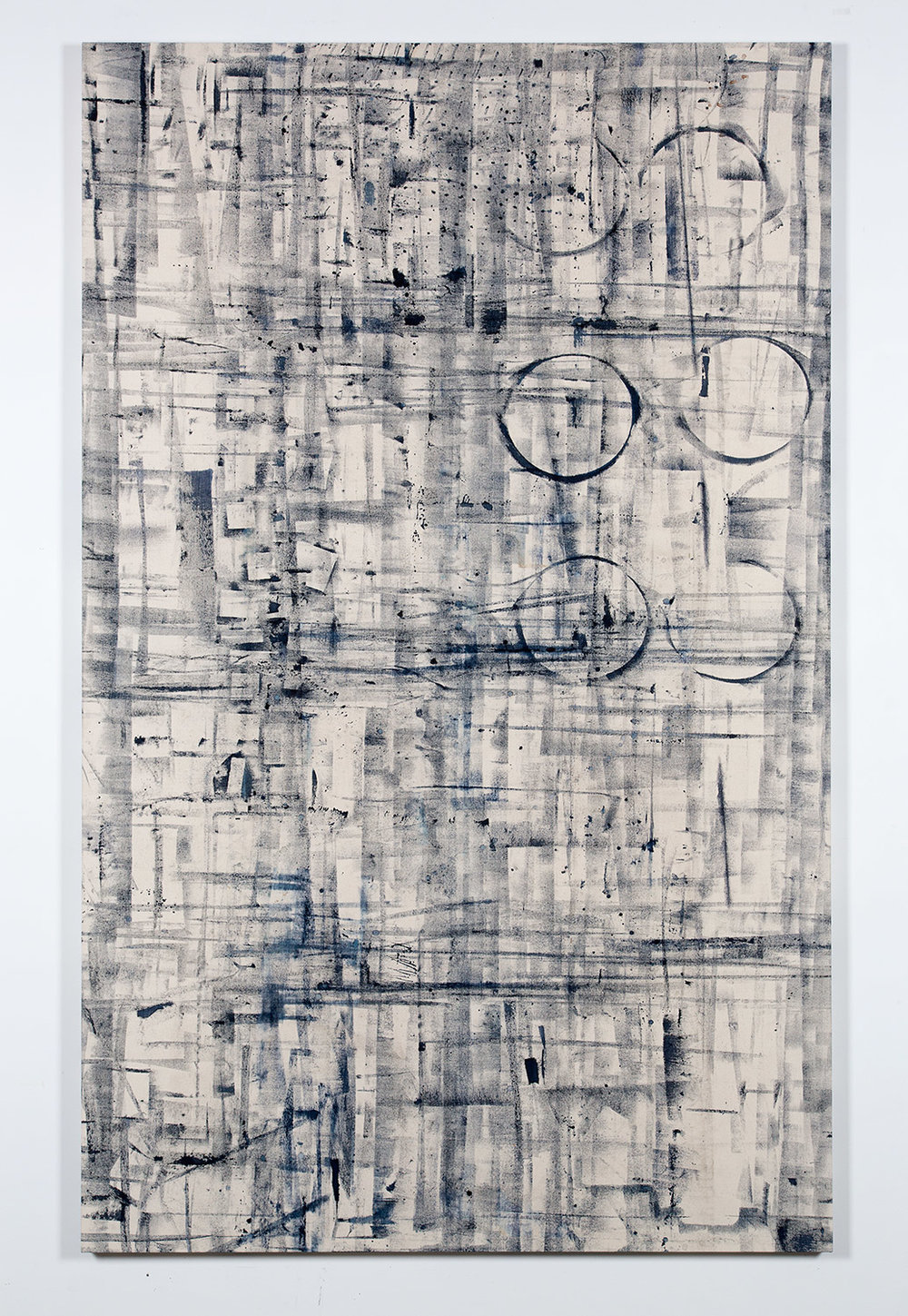 Marginalis (Los Angeles, California, May 1–August 1, 2014)   2014  Cyanotype chemistry on canvas  89 x 55 inches   Cyanotype Paintings, 2013–2015    Marginalia, 2014