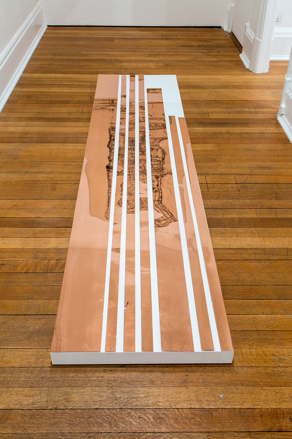 "Copper Remnants (60"" x 120"" 48 ounce C11000 Copper Alloy, 90º Bend, 60"" Bisection/5 Sections)   2014  Polished copper  Dimensions variable, 7 parts   Remnants, 2011–    Marginalia, 2014"