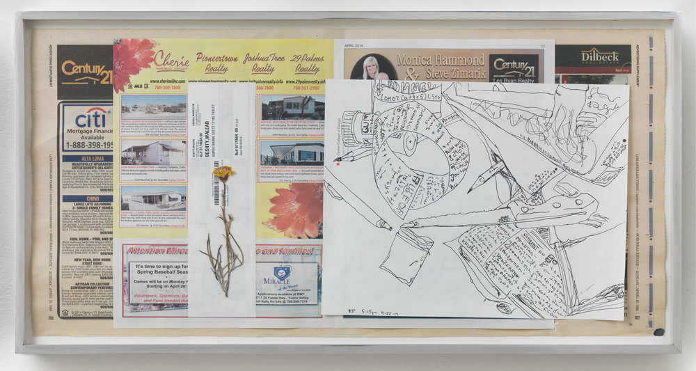 Corn Hustlers Nabbed; Ad Agency Blues: Pay Play in binge lawsuit, 86º, 2:45pm, 22-4-14   2014  Ink on paper, envelope, dried flower, newspaper  12 x 22 inches   Drawings, 2014–    Gastarbeiten, 2014