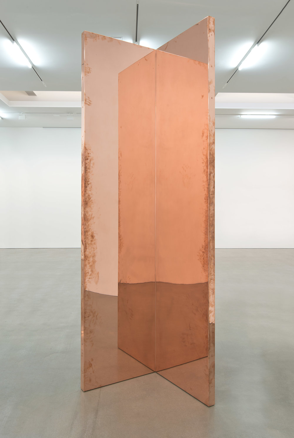 "Copper Surrogate (60"" x 120"" 48 ounce C11000 Copper Alloy, 90º Bend, 120"" Bisection: February 19-24/April 5, 2014, Los Angeles, California)   2014  Polished copper  120 x 30 x 30 inches   Surrogates (Full Sheet, Art Handling), 2011–    Selected Bodies of Work, 2014"