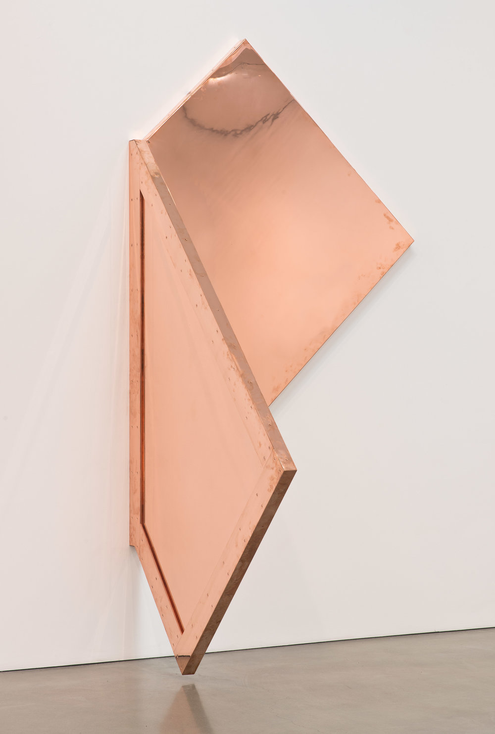 "Copper Surrogate (60"" x 120"" 48 ounce C11000 Copper Alloy, 90º Bend, 77 3/4"" 45º Diagonal / 135º Antidiagonal Bisection: February 20/April 5, 2014, Los Angeles, California)   2014  Polished copper  110 x 60 x 50 inches   Surrogates (Full Sheet, Art Handling), 2011–    Selected Bodies of Work, 2014"