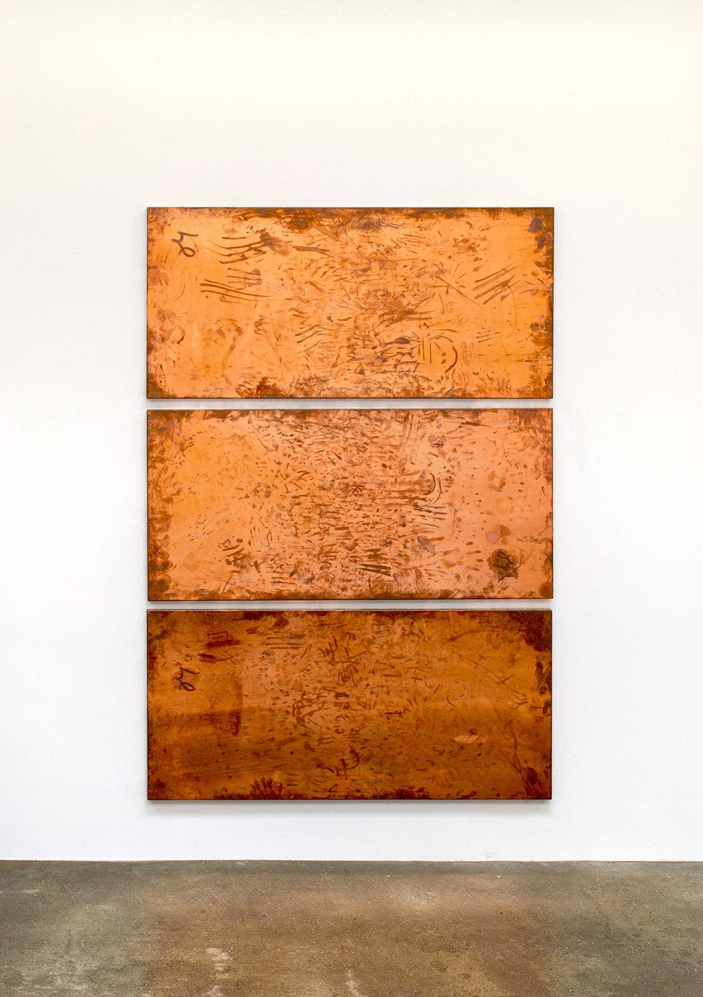 Copper Surrogates (September 20–23/November 21–23, 2011, Beijing, China, June 13–18/November 21, 2012Los Angeles, California, November 29–December 3, 2012, Miami Beach, Florida)   2011–  Polished copper  35 1/2 x 74 3/4 x 1 1/2 inches each   Surrogates (Full Sheet, Art Handling), 2011–    The Endless Renaissance, 2012