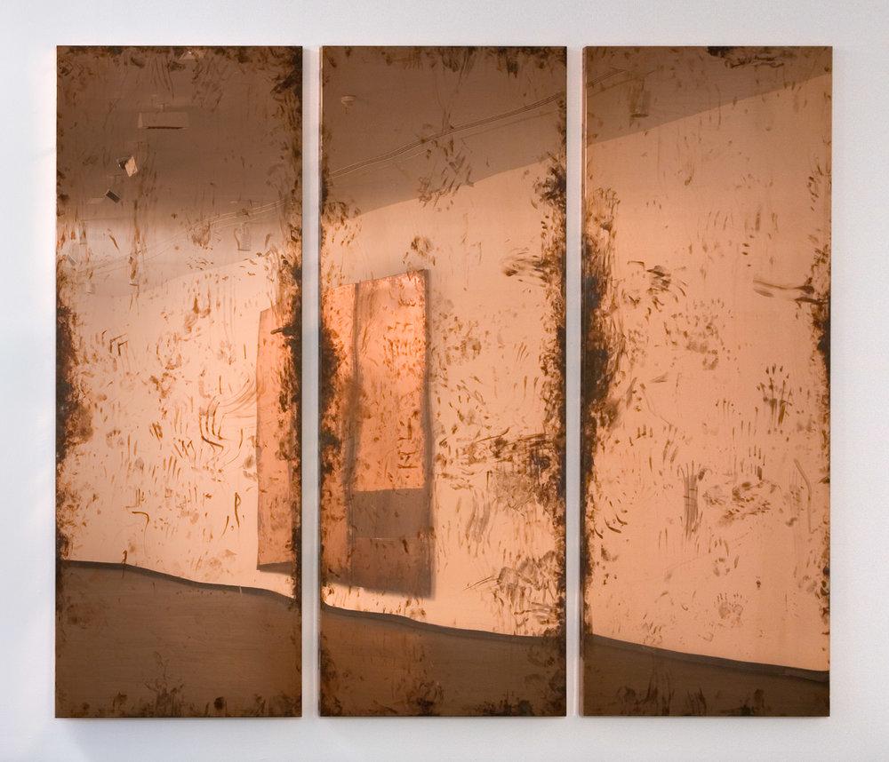Copper Surrogate (February 10–17/ May 2–6 2011, Malmo, Sweden; June 13–20/ October 31–November 4, 2011, Madrid, Spain; June 8/18, 2012, Basel, Switzerland; October 22, 2015, Beirut Lebanon)   2011–  Polished copper  116 x 45 3/4 x 2 inches, each, 9 parts   Surrogates (Full Sheet, Art Handling), 2011–    A Diagram of Forces, 2011
