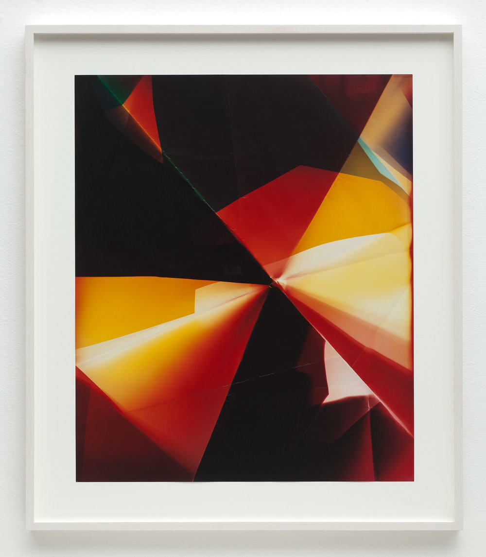 Two-Sided Picture (RY), January 12,2007, Valencia, California, Fujicolor Crystal Archive   2011  Color photographic paper  26 1/2 x 22 1/2 inches   Multi-Sided Folds, 2007–    A Diagram of Forces, 2011