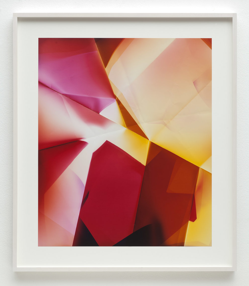 Three-Sided Picture (MRY), January 12,2007, Valencia, California, Fujicolor Crystal Archive   2011  Color photographic paper  26 1/2 x 22 1/2 inches   Multi-Sided Folds, 2007–    A Diagram of Forces, 2011