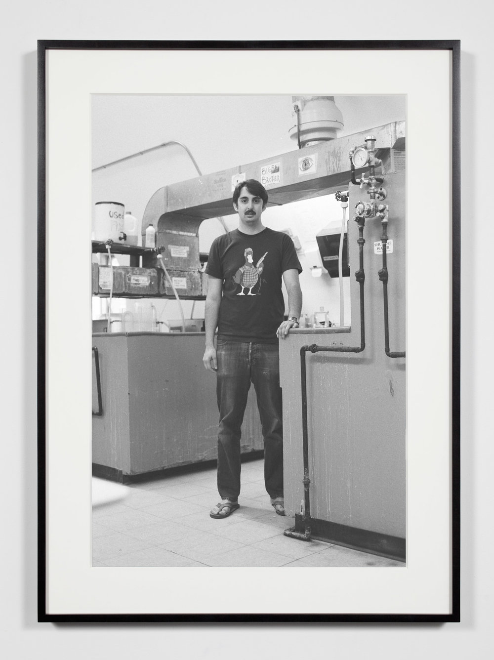 College Darkroom Technician, Annandale-on-Hudson, New York, July 11, 2009   2011  Epson Ultrachrome K3 archival ink jet print on Hahnemühle Photo Rag paper  36 3/8 x 26 3/8 inches   Industrial Portraits, 2008–    A Diagram of Forces, 2011