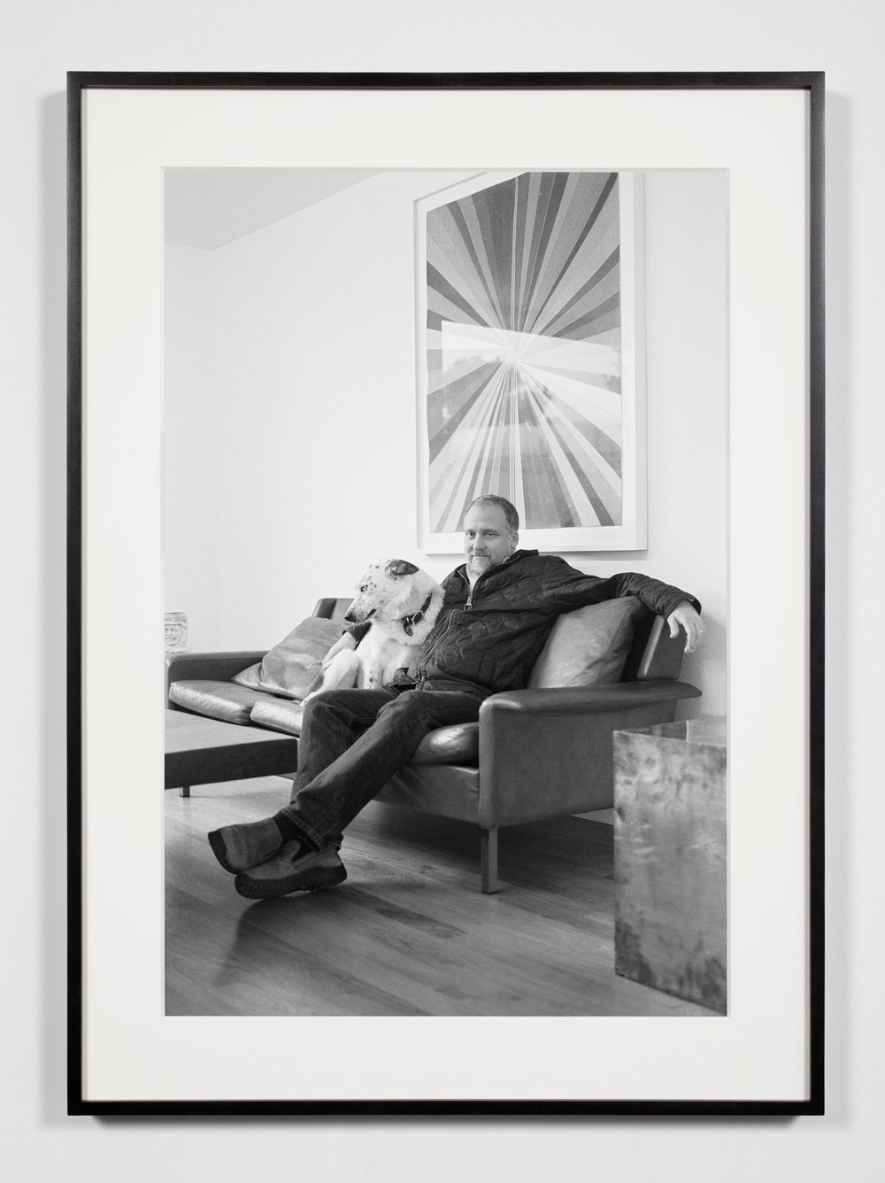 Gallery Owner with Dog, Los Angeles, California, February 5, 2010   2011  Epson Ultrachrome K3 archival ink jet print on Hahnemühle Photo Rag paper  36 3/8 x 26 3/8 inches   Industrial Portraits, 2008–    A Diagram of Forces, 2011