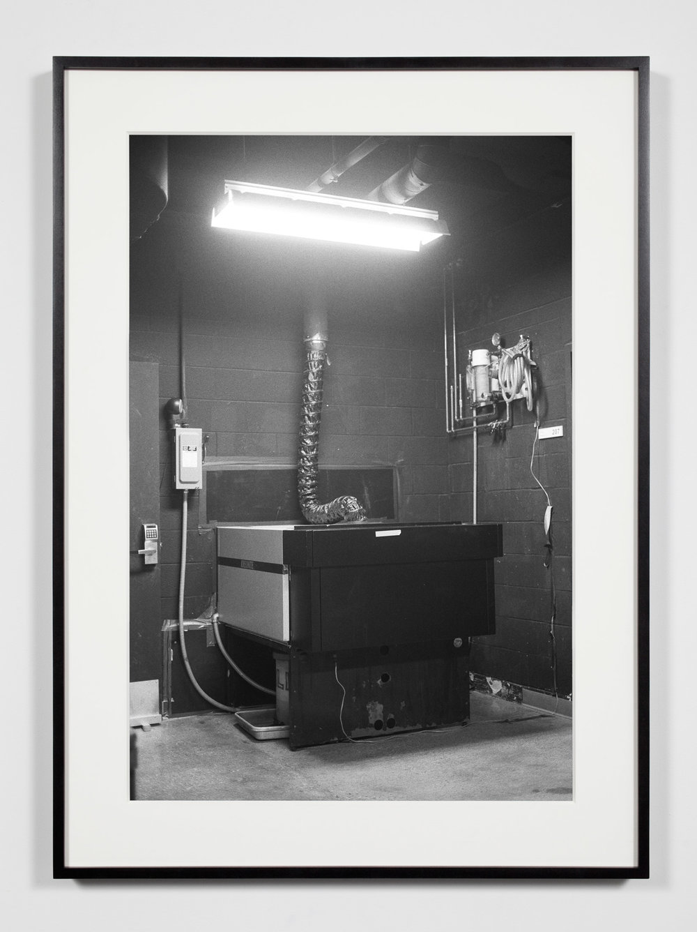 College Darkroom, Color Photographic Processor, Chicago, Illinois, August 21, 2008   2011  Epson Ultrachrome K3 archival ink jet print on Hahnemühle Photo Rag paper  36 3/8 x 26 3/8 inches   Industrial Portraits, 2008–    A Diagram of Forces, 2011