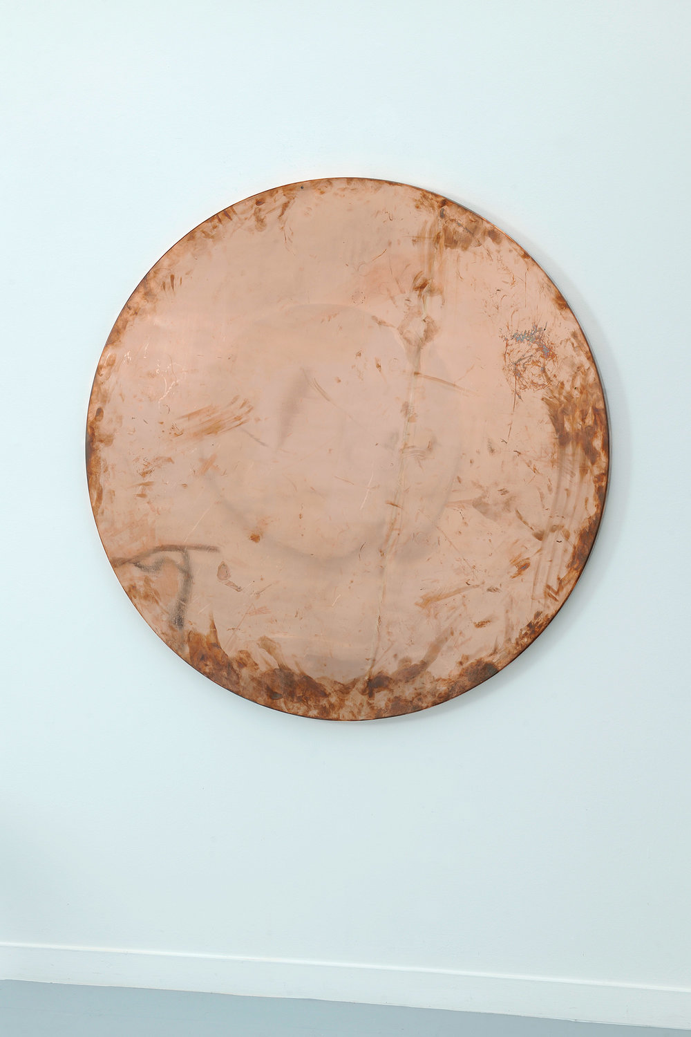 Copper Surrogate (Table: designed by unknown, date unknown; Galerie Rodolphe Janssen, Brussels, Belgium, September 7th, 2011), 2011   2011  Polished copper table top and powder-coat steel  55 inches diam.   Surrogates (Tabletop and Desktop), 2008–    Diapositives, 2011