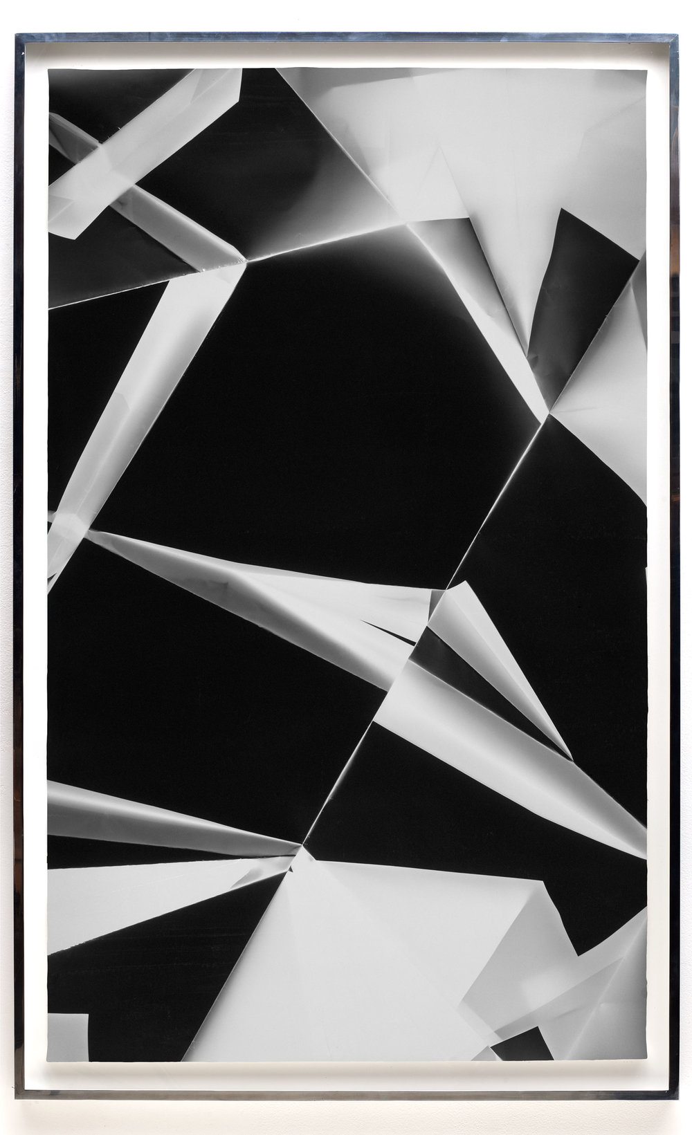 Fold (0º/90º/180º/270º directional light sources), June 13, 2008, Annandale-On-Hudson, New York, Foma Multigrade Fiber   2009  Black and white fiber based photographic paper  74 x 46 3/4 inches   Black and White Directional Folds, 2006–2014    Legibility on Color Backgrounds, 2009